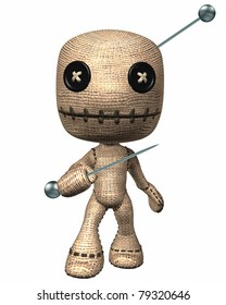 Voodoo HooDoo doll with button eyes a magic pin stuck in his head attacks with another pin in hand. Isolated illustration cutout on clean white background.