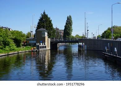 Voorburg, The Netherlands - May 15, 2019; The Oude Tolbrug is a bascule bridge over the Vliet
