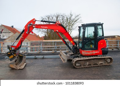 Vordingborg Denmark - January 19. 2018: five ton Kubota KX057-4 mini excavator