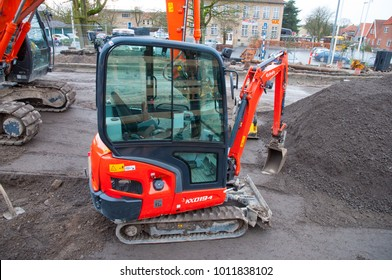 Vordingborg Denmark - January 19. 2018: Kubota Mini excavator