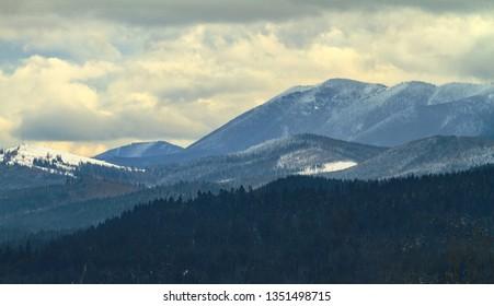 Vorokhta village center of the Carpathian Mountains
