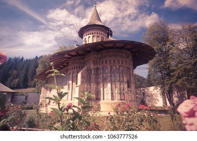 Voronet Monastery church decorated of paintings is cultural attraction from Romania