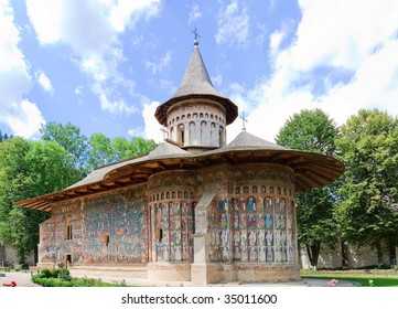 Voronet Monastery in Romania. Built in 1488 in only 4 and a half months, which was a record for that time. Now it is a UNESCO World Heritage