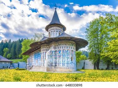 Voronet orthodox painted church monastery Moldavia, Bucovina, Romania