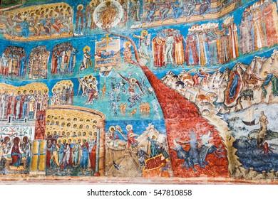 Voronet orthodox painted monastery, Moldavia, Bucovina, Romania, built by Stefan cel Mare in 1488