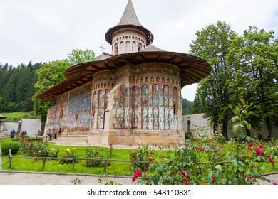 Voronet orthodox painted monastery, Moldavia, Bucovina, Romania, built by Stefan cel Mare (Stefan the Greatest) in 1488 - Voronet, Bucovina County, Romania on 19 June 2016
