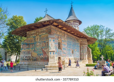 """VORONET, ROMANIA - AUGUST 2015: Voronet Monastery famous for Last Judgment, Final Judgment, Day of Judgment detailed fresco on western wall, considered by many the """"Sistine Chapel of the East"""""""