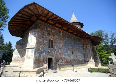 VORONET, ROMANIA – CIRCA JULY 2017: Voronet Monastery situated in Romania on July 2017. Monastery is on list of World Heritage Sites UNESCO, as one of the Painted churches of Moldavia.
