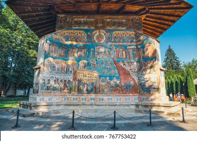 Voronet, Romania, July 06, 2015: Voronet Monastery is a famous painted monastery in Romania