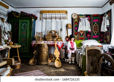 VORONET, ROMANIA - JUNE 19, 2019: Traditional romanian room with a lot of folklor motifs in Suceava county.
