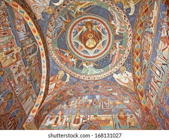VORONET, ROMANIA - OCTOBER 01: The most famous painted monastery in Romania is Voronet, Bucovina, founded in 1487 by Stephan the Great. The ceiling seen  on October 1, 2013 in Voronet, Romania.