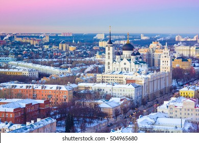 Voronezh from rooftop, prospect of Revolution, the Annunciation Cathedral