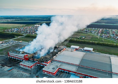 """Voronezh, Russia - 29 April 2019: smoke after fire in burnt distribution warehouse of network """"Magnit"""" on area of 20 thousand square meters in the village Nechaevka in Voronezh region"""