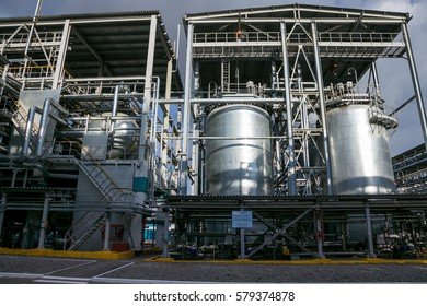 Voronezh, Russia - April 21, 2015: Voronezh Synthetic Rubber Plant, Chemical production of thermoplastic. Node of homogenization of the polymer solution