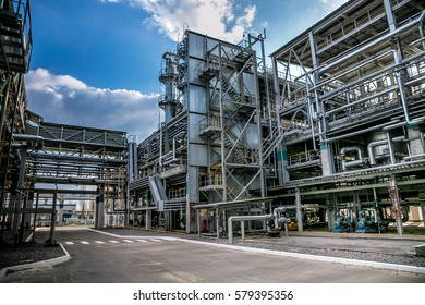 Voronezh, Russia - April 21, 2015: Voronezh Synthetic Rubber Plant, Chemical production of thermoplastic, node of preparation of monomers and solvents