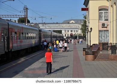 Voronezh, Russia - August 23. 2018. train RZD at station Voronezh-1