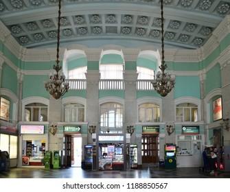 Voronezh, Russia - August 23. 2018. interior of the Voronezh-1 railway station
