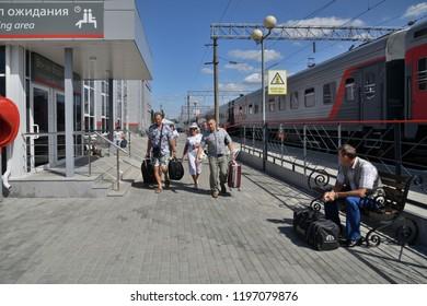 Voronezh, Russia - August 23. 2018. train on railway station Voronezh Yuzhnyy