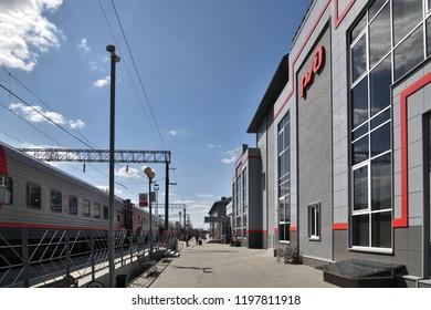 Voronezh, Russia - August 23. 2018. train on railway terminus Voronezh Yuzhnyy