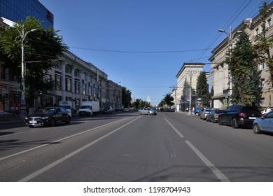 Voronezh, Russia - August 23. 2018 Ploshchad Revolyutsii is one of central streets of city