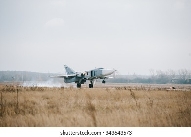 """Voronezh, Russia, December 12: a front-line bomber su-24 """"fencer,"""" flies during a training flight on December 12, 2011. in Voronezh, Russia"""
