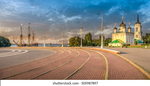 Voronezh, Russia. Goto Predestination - Russian sailing linear ship of the Voronezh shipyard of Voronezh Admiralty. Was designed by the Russian Tsar Peter I. Located on the banks of the Voronezh river
