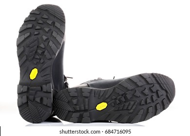 Voronezh, Russia - July 7, 2017: Boots for mountain hikes with reinforced soles manufactured using Vibram technology and Gore-Tex membrane material.