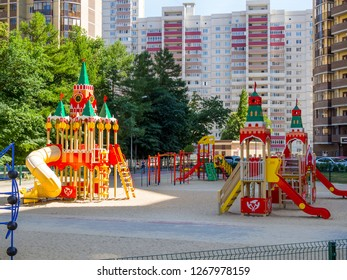 "Voronezh, Russia - June 23, 2018: Playground in the form of the Moscow Kremlin, the residential complex ""Olympic"", the city of Voronezh"