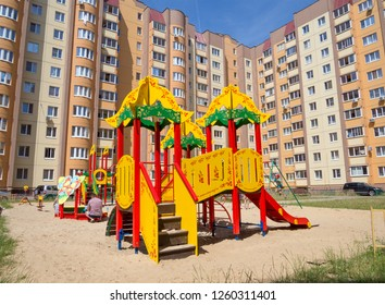Voronezh, Russia - June 27, 2018: Playground in the courtyard of a new residential complex on Shishkov Street in the city of Voronezh