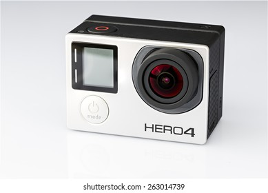 Voronezh, Russia - March 23, 2015: The compact camera for shooting sports and recreation and tourism. GoPro Hero 4 Black Edition