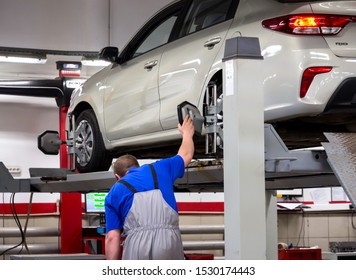 Voronezh, Russia - May 30, 2019: Computer adjustment of car wheels on a stand