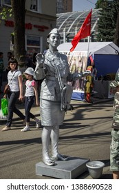 Voronezh, Russia- May 9th-2018:Activities along the street in Victory's day of Russia in Voronezh State, Russia