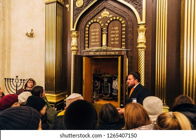 Voronezh, Russia - November 20, 2018: Rabbi preaches to people in Voronezh Synagogue.
