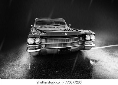 Voronezh, Russia - October 4, 2017. Showing current retro car Cadillac DeVille 1962 release. Black-and-white photo.