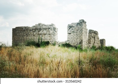 Voronezh, Russia (RUS), the remains of a rural farm building in a field. Summer 2015