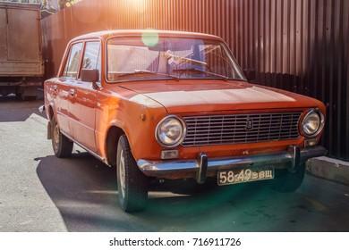 Voronezh, Russia - September 17, 2017: Classic soviet vintage car LADA VAZ-2101 red colored