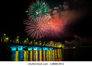 Voronezh/Russia-September 16th 2017: Fireworks in City's Day of Voronezh State, near the river front in Russia
