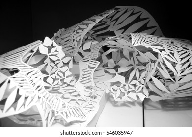 Voronoi diagram laser cut into paper and folded to create a three dimensional model