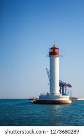 Vorontsov Lighthouse in the Gulf of Odessa, Ukraine.