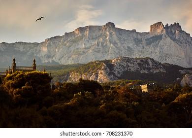 Vorontsov Palace and AI-Petri mountain in Crimea