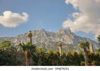 Vorontsov Palace columns with Ai-Petri mountains in the background