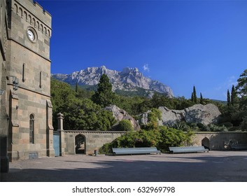 Vorontsov palace tower and park with Ai-Petri mountain view