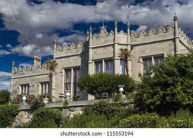Vorontsov Palace  in the town of Alupka, Crimea, Ukraine. Southern facade.
