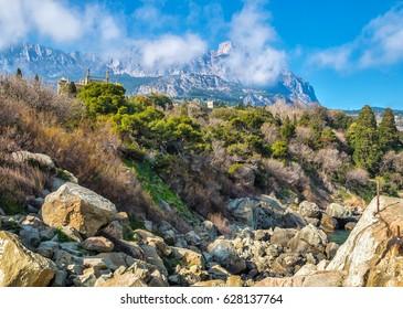 The Vorontsov Park on the Black Sea coast against Ai-Petri mount. Crimea