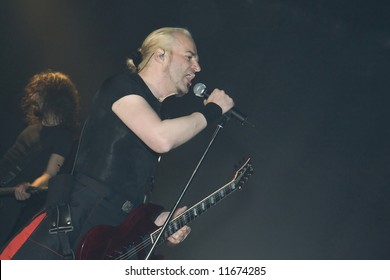 Vorph - vocalist of Samael, black metal band. Concert in SoundDock14, Dietikon, Switzerland