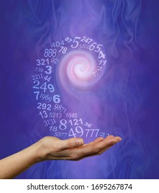 Vortexing Numerology Numbers  Concept Background  - a swirl of semi-transparent random numbers spiraling into the hand of a numerologist ready for a reading on purple blue gaseous ethereal background