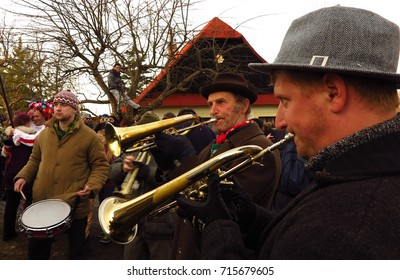 VORTOVA, CZECH REPUBLIC – FEBRUARY 25, 2017: A brass band plays traditional tunes at Masopust. The pre-Lenten Shrovetide carnival celebration is the Czech version of Mardi Gras.