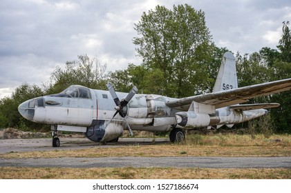 Vosges, FRANCE - July 2018: Military urbex of a lockheed plane P-2 forget inside an abandoned military base.