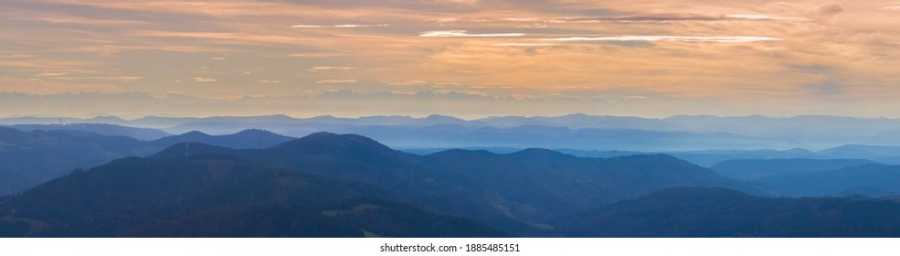 Vosges Mountainrange, viewed from the Belchen Mountain with haze, in autumn, in the Black Forest, Southwest Germany