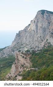 Voskresenskaya church build in 1892 on Red Rock cliff, Foros settlement, south of Crimea